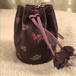 Coach Pebbled Leather Petal Wristlet in Oxblood